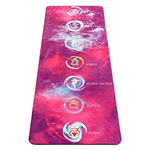 UMINEUX Yoga Mat – Natural Rubber Eco Friendly 5mm Extra Thick Yoga Mat, Non Slip Suede 2-in-1 Mat&Towel, Premium Print…