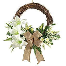 Led Lighted Lily Wreath With Bow, White