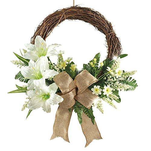 LED Lighted Lily Wreath with Bow