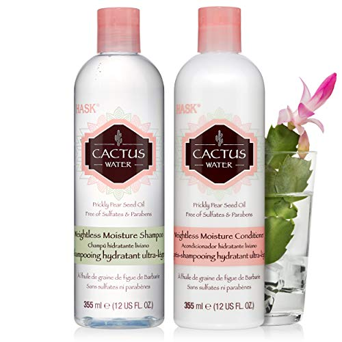 HASK CACTUS WATER Shampoo and Conditioner Set Weightless Moisture for all hair types, color safe, gluten-free, sulfate-free, paraben-free - 1 Shampoo and 1 Conditioner