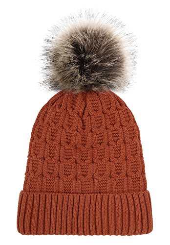 Arctic Paw Sherpa Lined Knit Beanie with Faux Fur Pompom,Burnt Orange