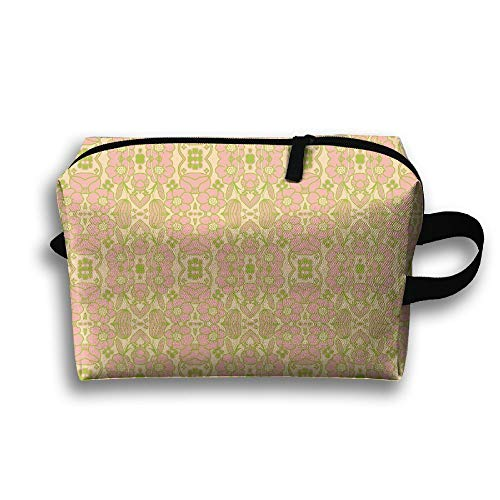 Gsodjsa Mini Big Mod Floral 12 inch Pink Green Fabric (1913) Travel Wash Bag Male Waterproof Portable Business Travel Storage Bag Female Cosmetic Bag