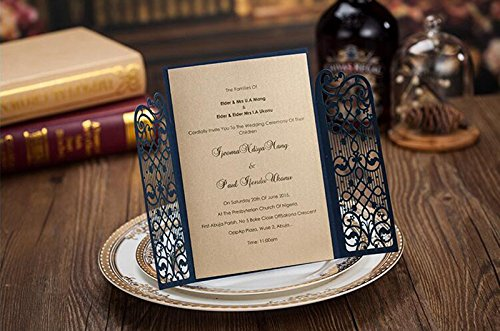 Royal Blue Wedding Invitation Cards: Doris Home Navy Blue Wedding Invitation With RSVP Cards