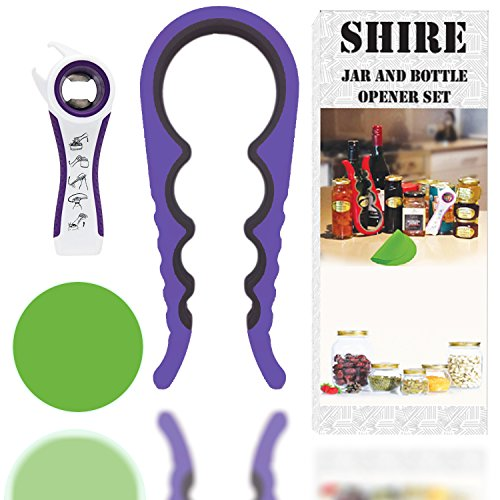 Jar Opener Can Opener, Set of 3 Premium Kitchen Gadgets- Grip Jar and Can Lid Opener For Seniors & Arthritis Suffers-2 eBooks with 100 Ideal Recipes.