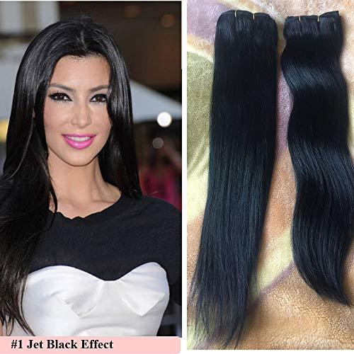 18-22 inch Clip in Hair Extensions for Black Women Best Human Hair Extensions Jet Black 22 inch Hair Extensions Remy Clip in Double Weft 7 pieces #1 120g (Black Hair Extensions 22 Inch)