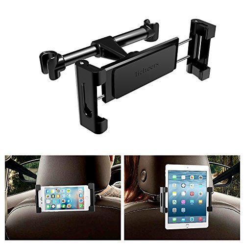 Price comparison product image LICHEERS Car Headrest Mount, Car Phone Holder Seat Tablet iPad Stand for iPhone X/8/8P/7/7P Amazon Kindle Fire 4.7 to 12.9 inch Smartphones and Tablets (Black Upgrade)