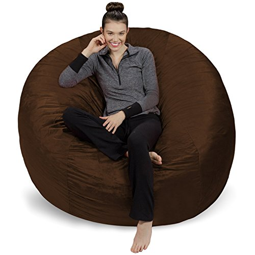Sofa Sack – Plush Ultra Soft Bean Bags Chairs For Kids, Teens, Adults – Memory Foam Beanless Bag Chair with Microsuede Cover – Foam Filled Furniture For Dorm Room – Chocolate 6′