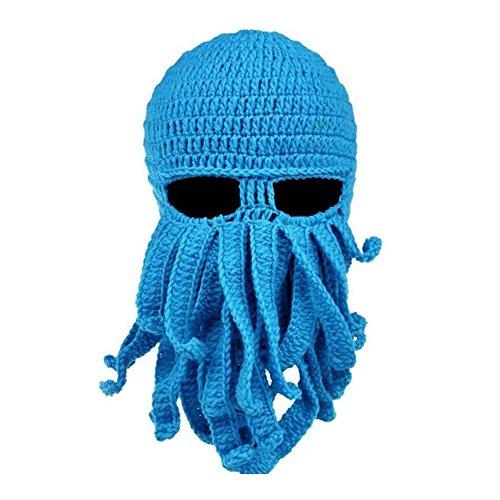 Imixcity Tentacle Octopus Cthulhu Knit Beanie Hat Cap Wind Ski Mask Light Blue ()