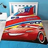 Disney Cars 3 Official Lightning McQueen Reversible Single Duvet Bedding Set (Twin Bed) (Red/Blue)