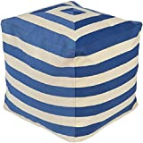18'' Playhouse Dark Blue and Beige Striped Square Pouf Ottoman
