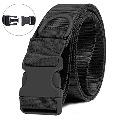Selighting Tactical Battle Belts Quick Release Riggers Belt Heavy Duty Nylon Web Belt Concealed Carry Gun Holster Belt with Buckle (Black, One Size)