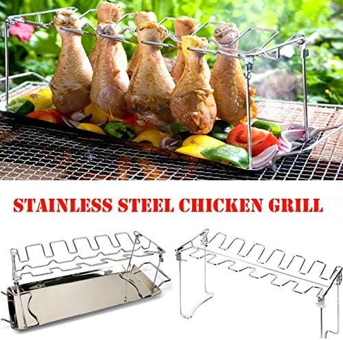 HONG YU Poulet en acier inoxydable Wing jambe rack Grill Porte-rack avec Drip Pan for barbecue polyvalent Cuisse de poulet Four Grill rack (Couleur : A) B