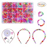 QH-Shop Kids Beads ,Bracelet Beads Colorful Plastic 24 Compartments Bracelets Making Bead Art Kit in PVC Box as Gift for Children Girls 650 pieces