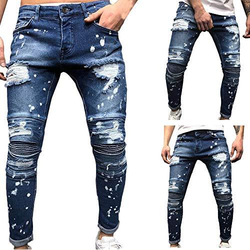 Homme Troué Jean Crayon Hip Pantalon Streetwear Hop Bleu Mode Slim Skinny Troue Déchiré Jeans Casual 5wfqx0Baf