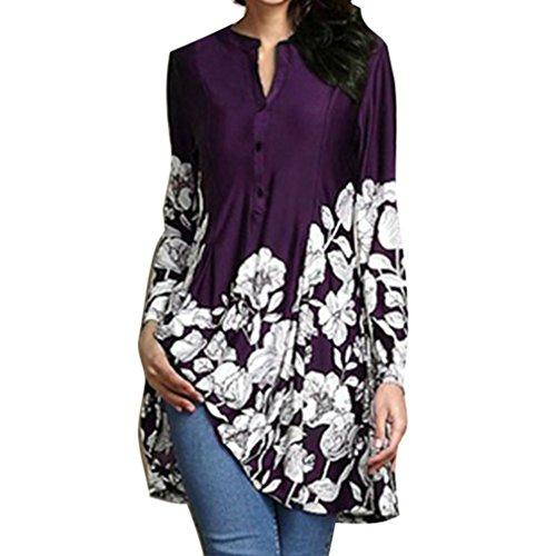 Casual Chemise Mid Pattern 5 Violet Impression Lache Longues Chemise Dress Manches Rond Long S 5Xl D't Couleurs Femmes des Floral Col Blouse rfTrZx