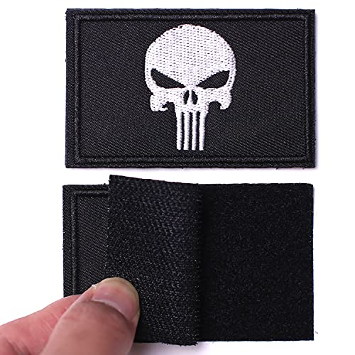 AXEN 2 Pieces Dead Skull Patch Tactical Morale Hook & Loop Patches for Tactical Gear Hat Backpack Jackets