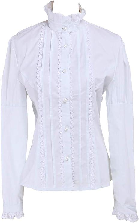 Blanca Algodón Encaje Volantes Stand-up Collar Victoriana Lolita ...