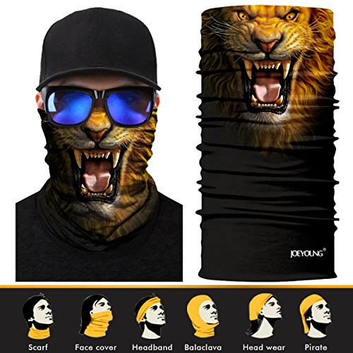 Wind Protection - JOEYOUNG 3D Face Sun Mask, Neck Gaiter, Headwear, Magic Scarf, Balaclava, Bandana, Headband for Fishing, Hunting, Yard work, Running, Motorcycling, UV Protection, Great for Men & Women