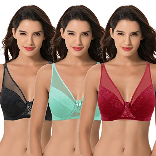 Curve Muse Women's Plus Size Minimizer Unlined Underwire Bra with Floral Lace-3PK-MINT,RED,BLACK-46DDDD