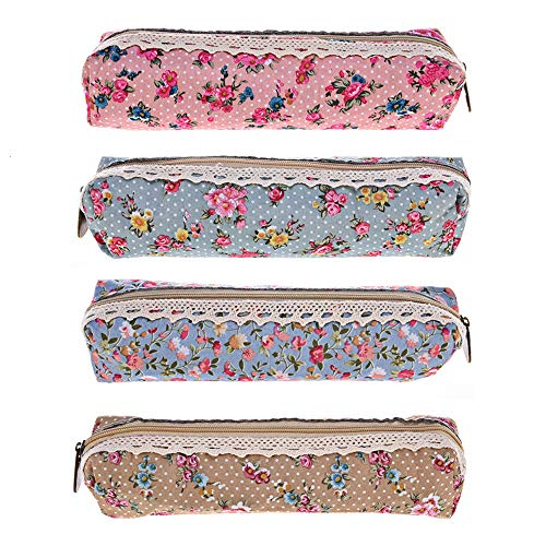 Gaiatop Pencil Case, Set of 4 Pastorable Canvas Pen Pouch Flower Floral Stationery Holder Cosmetic Bags