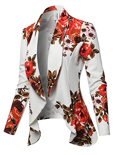 Solid Formal Style Open Front Long Sleeves Blazer - Made in USA White Floral XL -
