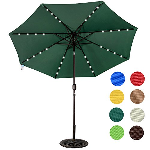 Sundale Outdoor Solar Powered 32 LED Lighted Outdoor Patio Umbrella with Crank and Tilt, 9 Feet, Green (Outdoor Patio Umbrella)
