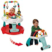Kolcraft Baby Sit and Step 2-in-1 Activity Center - 360° Spin Seat, 10 Fun Developmental Activities, Converts to Walk-Behind Walker (Bear Hugs)