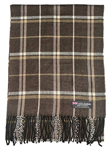 2PLY 100% Cashmere Scarf Elegant Collection Made in Scotland Wool Nova Tartan Plaid (Brown Beige (B))