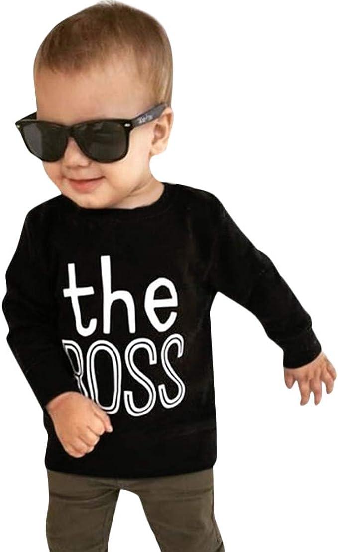YanHoo Ropara niños Bebé niño Niños Niños Niñas Camiseta de Manga Larga con Estampado Tops Trajes Ropa Camiseta de Manga Larga con de suéter para niños: Amazon.es: Ropa y accesorios