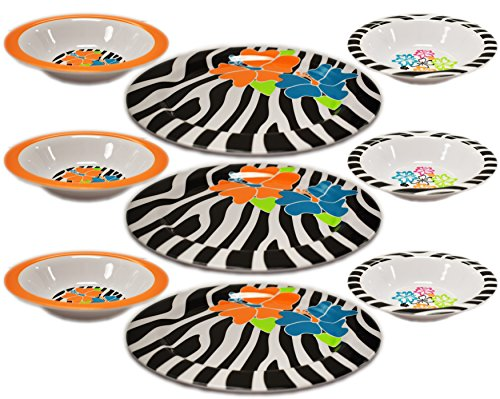- Melamine Hibiscus Plate and Bowl Zebra Pattern Floral Design Perfect for Parties Barbecues Indoor and Outdoor Table Settings! Useful as Serving Dishes Sandwiches Chips Cakes Fruit! (Set of 3 4-pack)