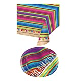 Mozlly Value Pack - Creative Converting Serape Premium Oval Paper Platters (8pc Set) and Banquet Plastic Table Cover - 54 x 102 inch - Party Supplies and Decorations (2 Items)