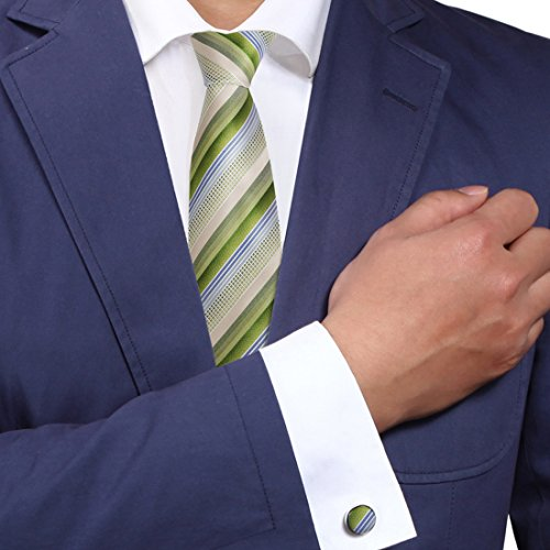 Green stripes ties cufflinks men in suits and ties Forest green friends accessories A2082 One Size - In Male Suit