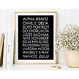 Arvier NATO Phonetic Alphabet Pilot Gift Print Aviation Art Aviation Decor Printable Art Boys Room Decor Phonetic Alphabet Poster Framed Wall Art