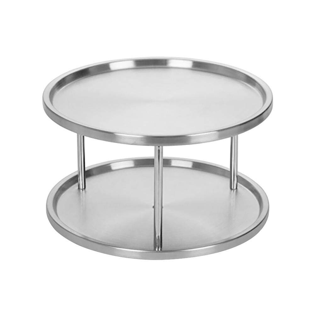 Bestmemories Stainless Steel Kitchen Organizer Tray 360° Turntable Rotating Spices Rack 2-Level Tabletop Stand Kitchen Spices Tableware Storage Rack for Dining Table Counters Cabinets