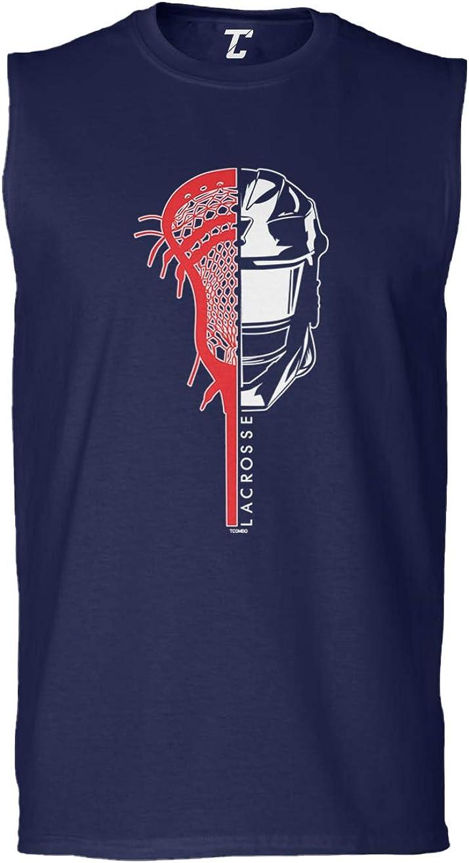 Lacrosse Stick and Helmet LAX Sports Mens Tank Top