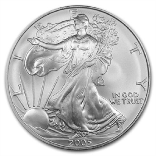 2005-1 Ounce American Silver Eagle Low Flat Rate Shipping .999 Fine Silver Dollar Uncirculated US Mint (Half Dollars Cases Coin Holders)