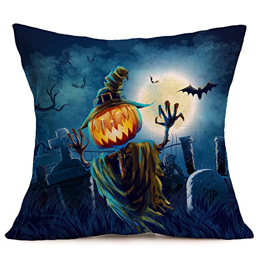 HomeMals Happy Halloween Pillow Covers Cotton Linen Black Cat Sofa Home Decor Throw Pillow Case Cushion Covers -
