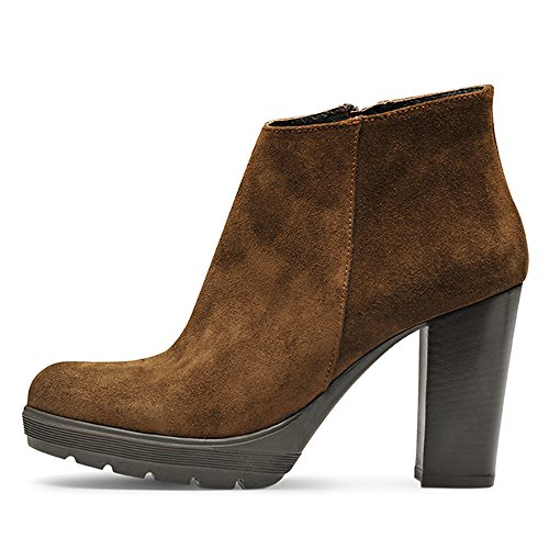 Evita Shoes UBALDA Damen Stiefelette Rauleder Dunkelbraun