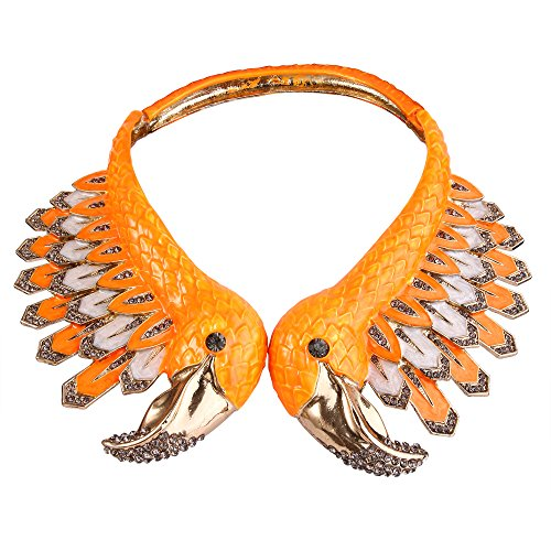 EVER FAITH Vintage Style 2 Flamingo Statement Choker Necklace Austrian Crystal Gold-Tone for Feast,Ball
