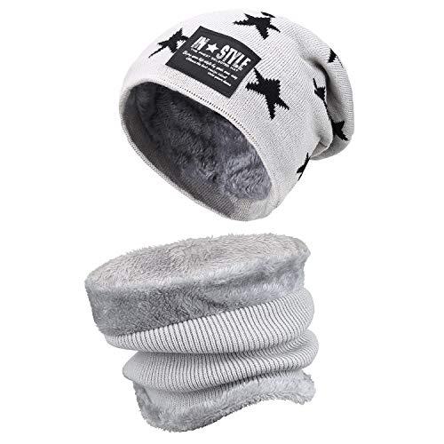 Knit Kids Scarf - Kids Boys Girls Winter Warm Knit Beanie Hat and Scarf Set with Fleece Lining