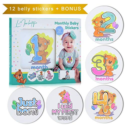 Baby Monthly Milestone Stickers - 20 Teddy Bear Onesie Stickers for First Year - 0 to 12 Months Belly 4'' Stickers - Best Baby Shower Gift or Scrapbook Photo Keepsake. Perfect Baby Shower Gift