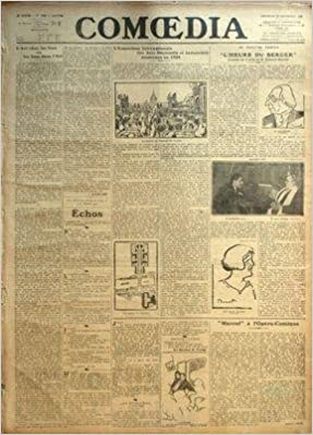 COMOEDIA [No 3568] du 22/09/1922 - L'ART CHEZ LES FOUS OU LES FOUS DANS L'ART PAR CANUDO - ECHOS - LOUIS NI CURIEUX HOMME PAR PAUL FORT - NOUVELLE A LA MAIN - LE MASQUE DE VERRE - L'EXPOSITION INTERNATIONALE DES ARTS DECORATIFS ET INDUSTRIELS MODERNES EN