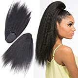 """Wrap Drawstring Afro Kinky Straight Human Hair Ponytail Extensions 14"""" inch Italian Yaki Coarse Curly Top Closure Clip Ins Ponytail Human Hair Extensions for Black Women 100g/pcs"""