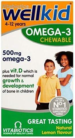 Vitabiotics Wellkid 4-12 Years Omega-3 Plus Vitamin D Chewable Orange Flavour 60 Capsules