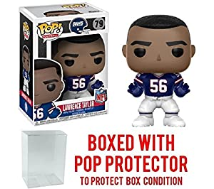 NFL Legends Lawrence Taylor Giants Throwback Pop! Vinyl Figure and (Bundled with Pop BOX PROTECTOR CASE)