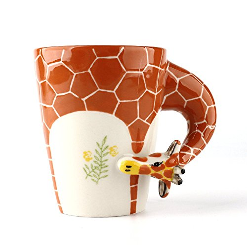 Homee 3-D Hand-Painted Ceramic Mugs Novelty Cups/Mugs for Coffee/Milk, Ideal Choice for Gift Giving (Giraffe)