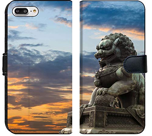 Apple iPhone 8 Plus Flip Fabric Wallet Case Image ID: 10463217 Majestic Lion Statue with Sunset Glow Traditional Chinese Culture sy (Sale For Lion Statue Chinese)
