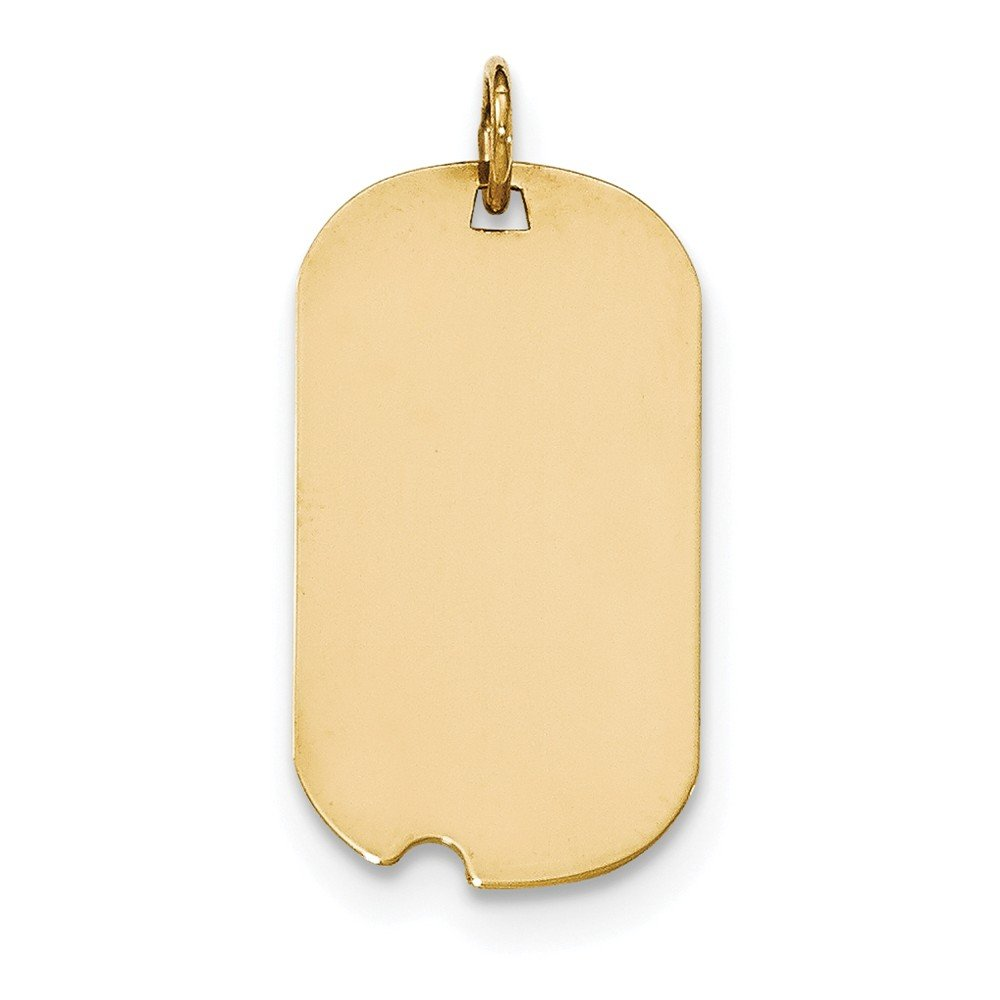 14k Yellow Gold Plain .011 Gauge Engraveable Dog Tag w//Notch Disc Charm