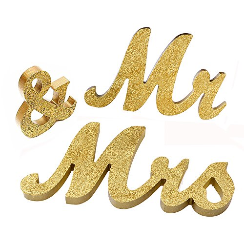 Mr And Mrs Signs Wedding Sweetheart Table Decorations  Wooden Freestanding Letters Gold Silver For Wedding Decorations  Gold