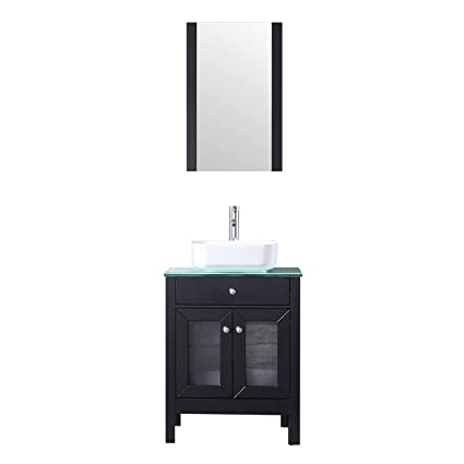 Sliverylake 24 Inch Modern Black Bathroom Vanity Sink Combo Mdf